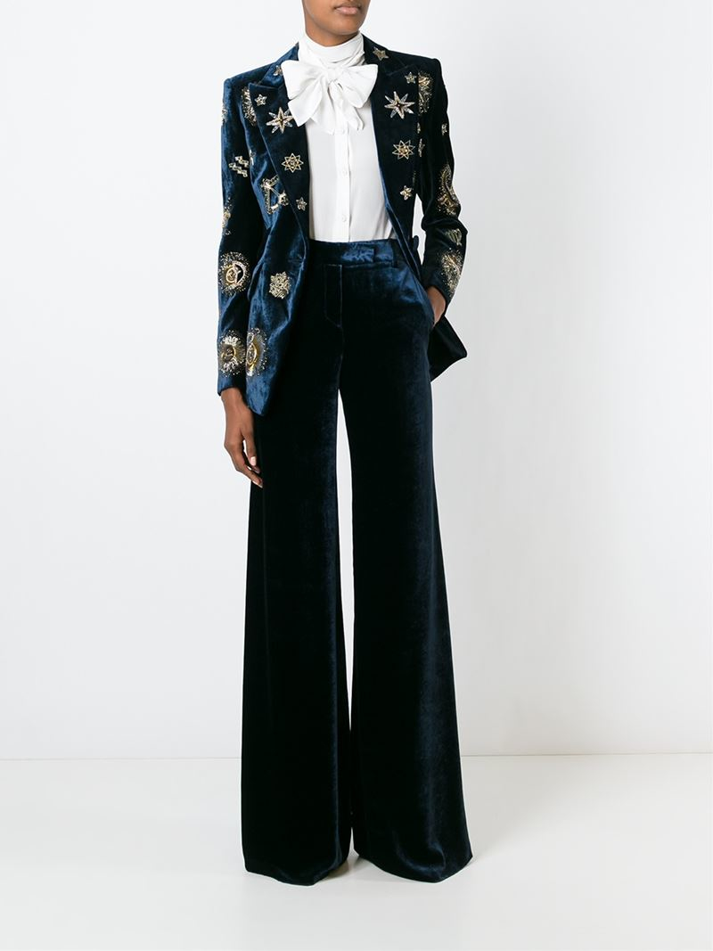 Emilio Pucci Zodiac Embellished Velvet Blazer In Blue Lyst