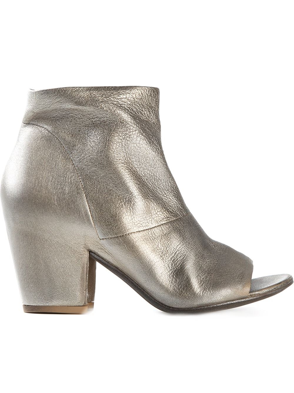 settima open toe ankle boots in gold metallic save 50