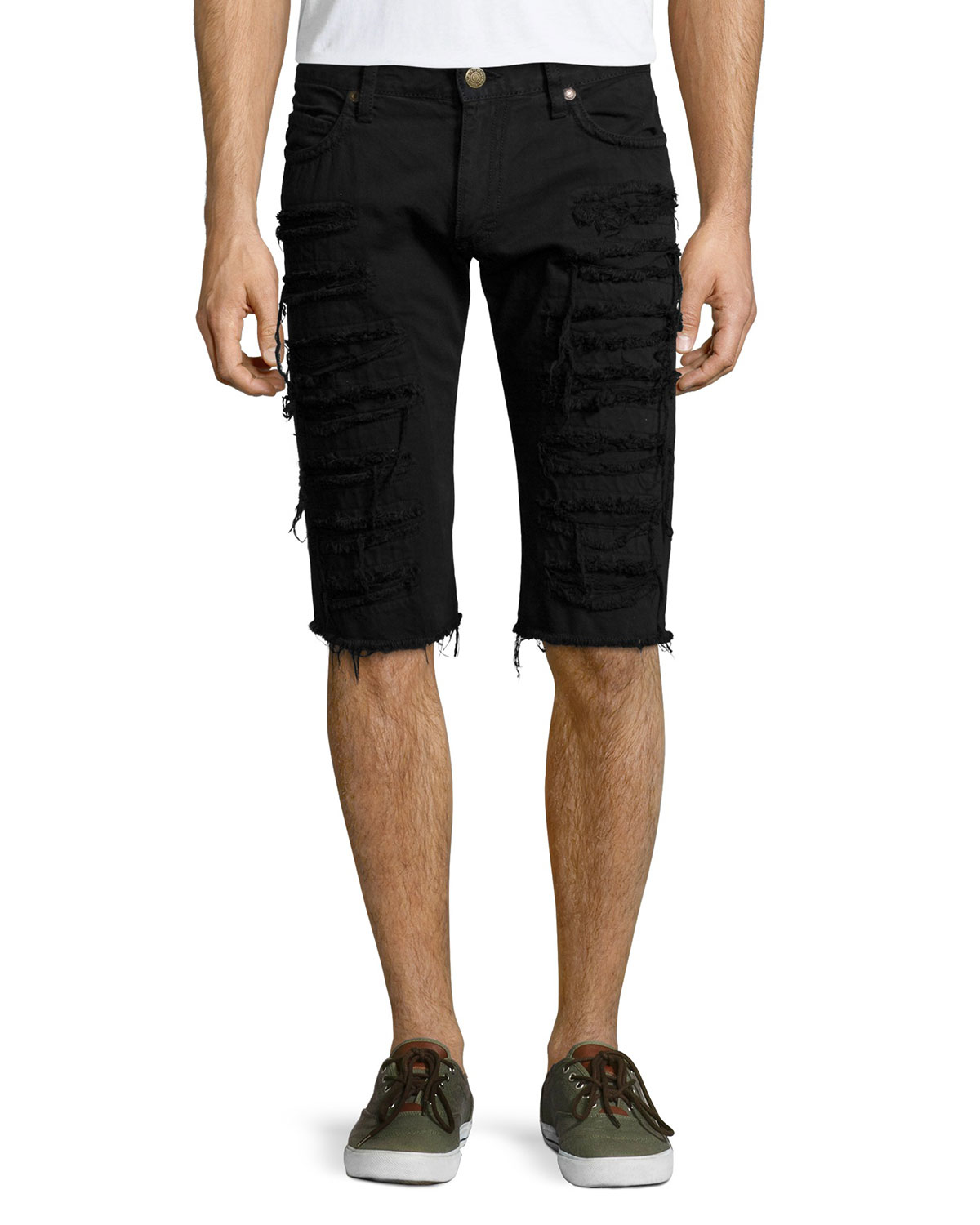 Robin's jean Overdyed Denim Cut-Off Shorts in Black for Men | Lyst