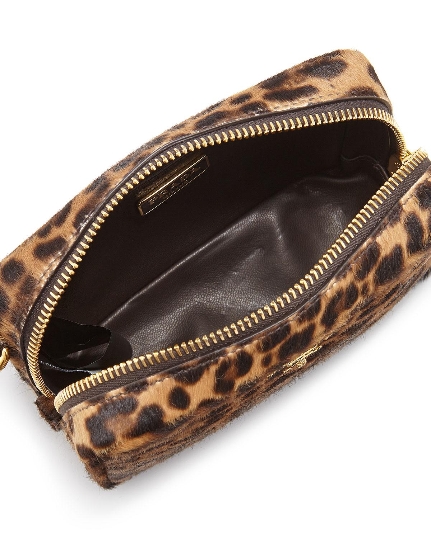e37e16f3f702 Lyst - Prada Leopard-print Calf Hair Mini Crossbody Bag