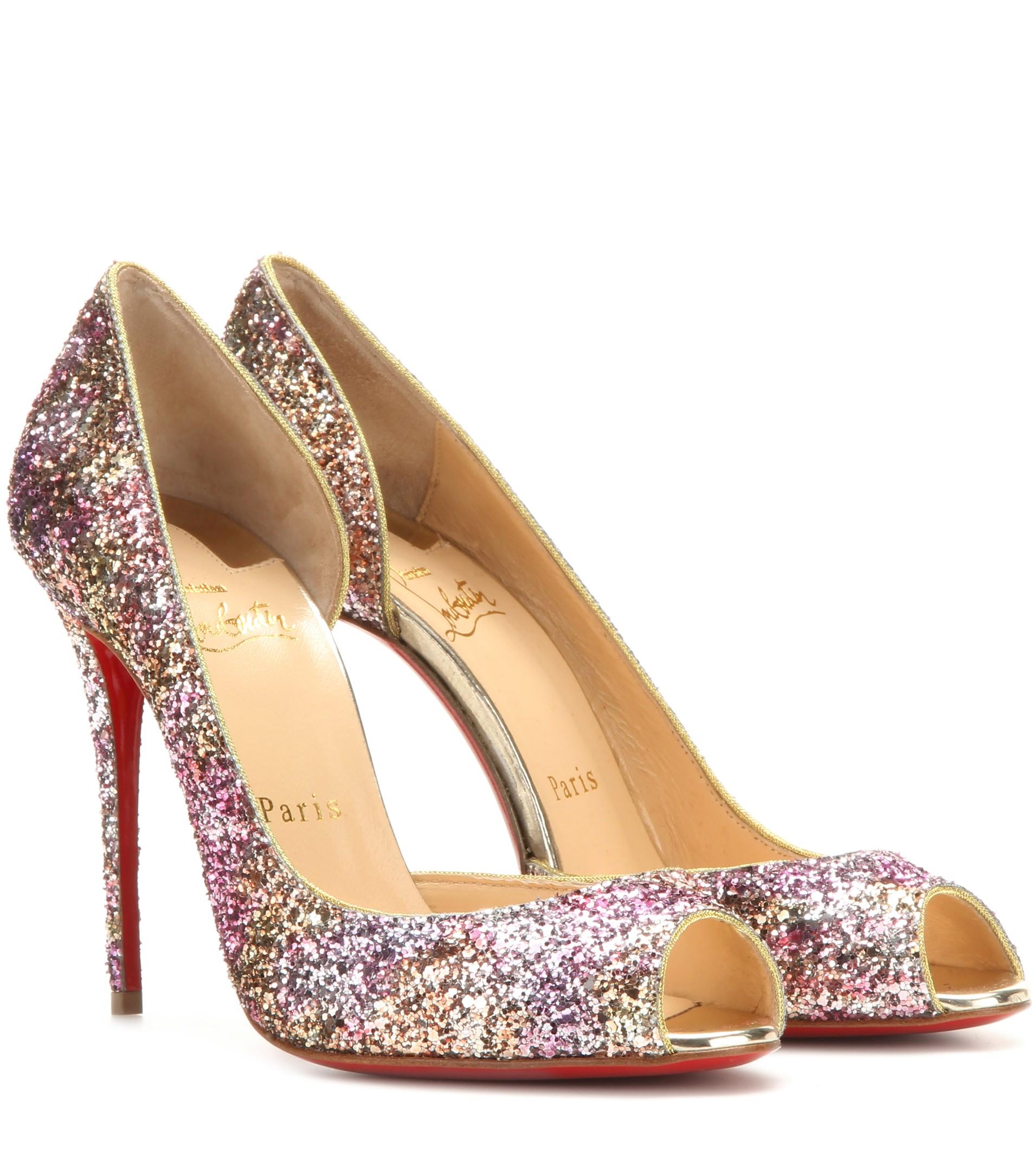 best sneakers 88f91 3db96 norway louboutin peep toe glitter afa3d 81270