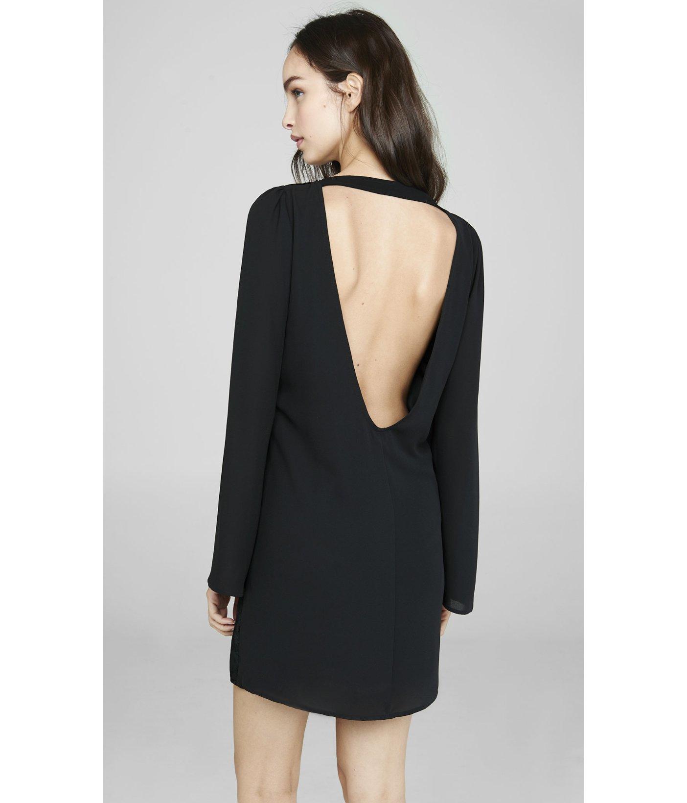 34eefe40809d Lyst - Express Black Velvet Burnout Deep V-back Dress in Black