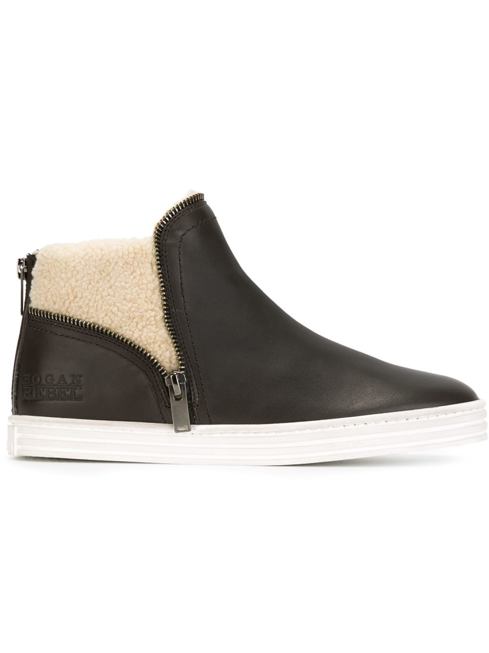 Lyst Hogan Rebel Faux Shearling Lined Sneakers In Brown