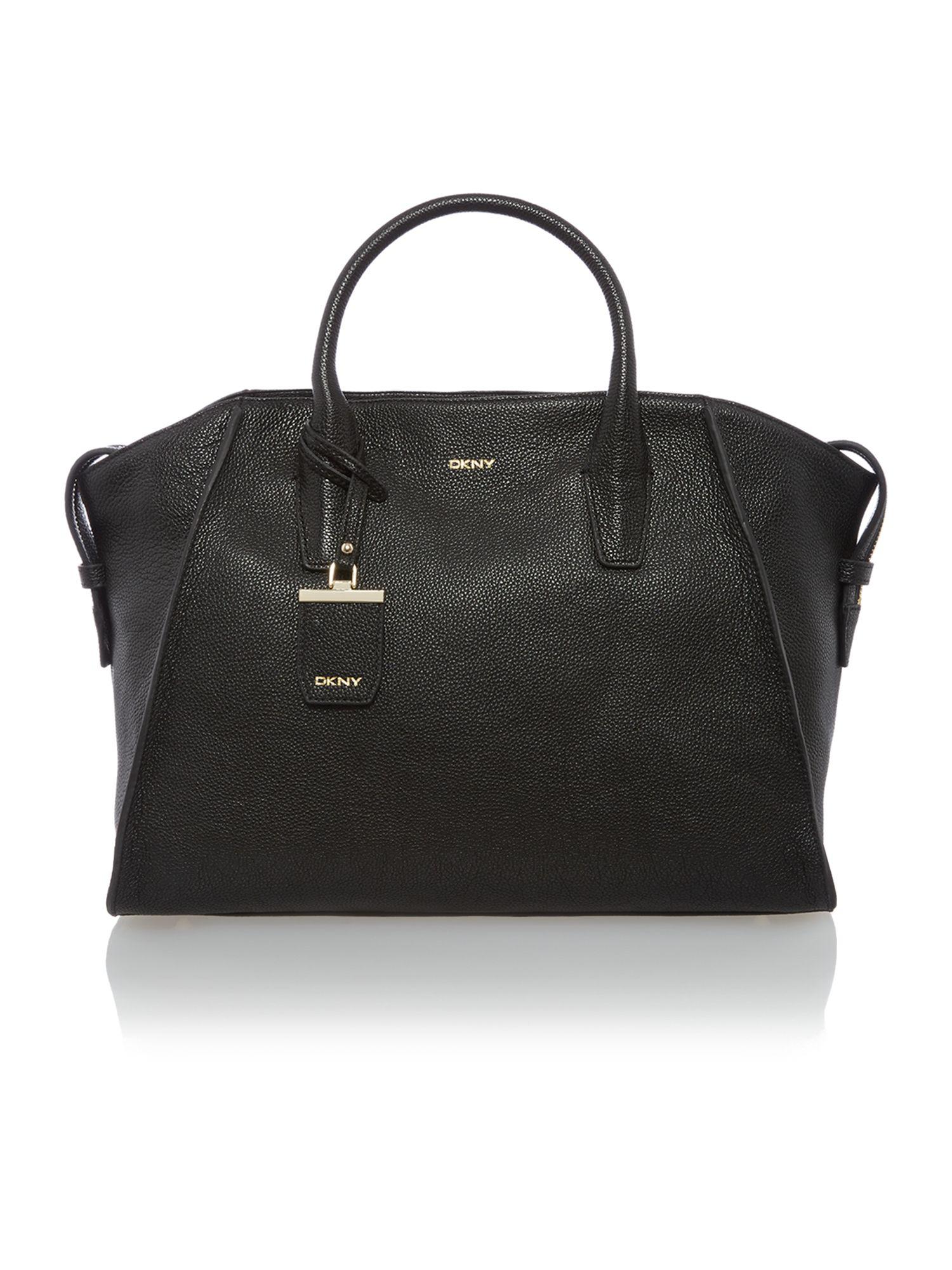 dkny chelsea vintage black large satchel bag in black lyst