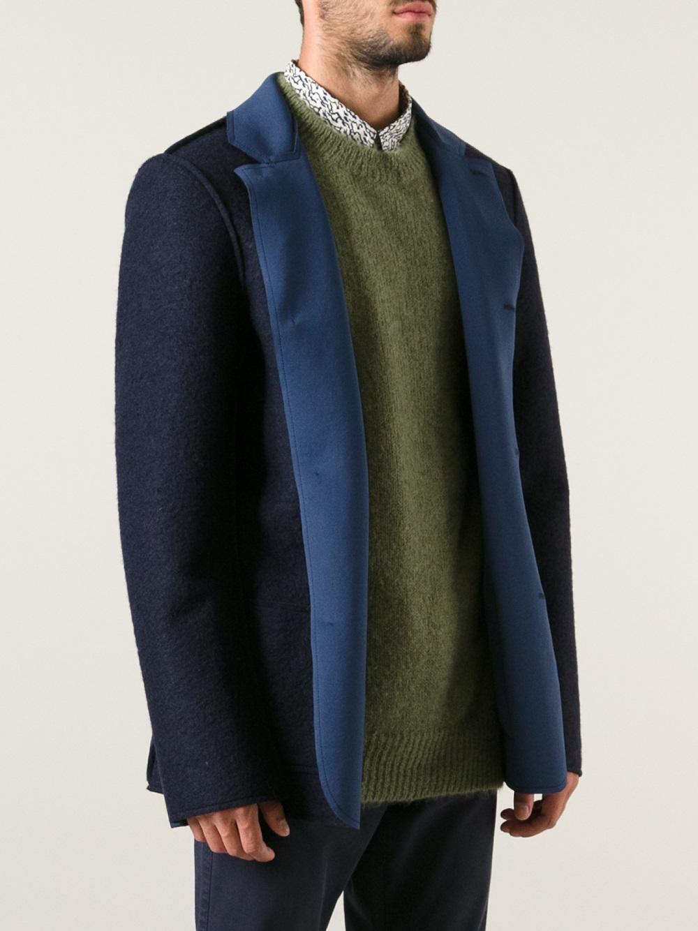 Lyst Msgm Neoprene Lined Jacket In Blue For Men