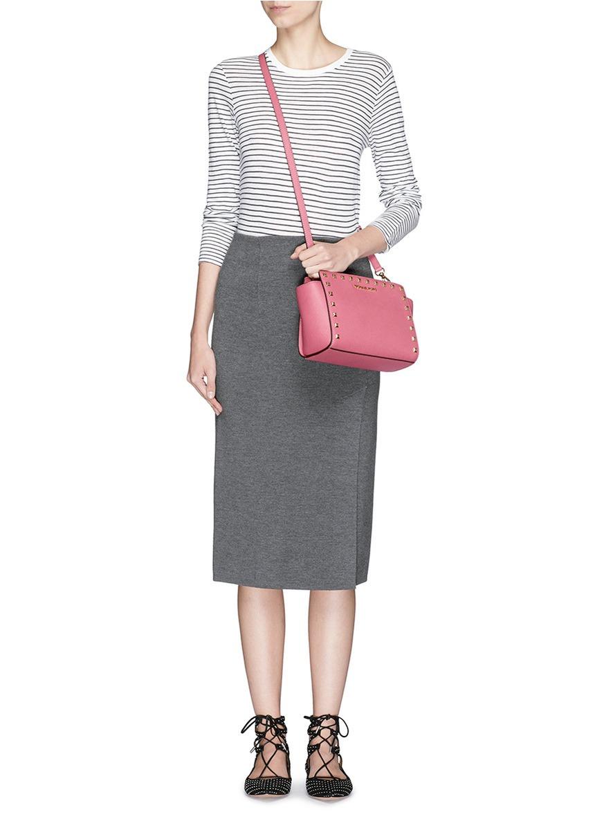 198b99dd58e4d ... best price mini messenger sku8421751 lyst michael kors selma stud medium  shoulder bag in pink a5e43