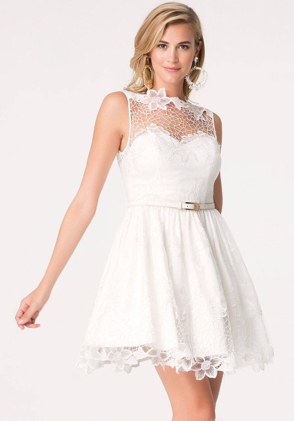 Lyst bebe embroidered organza dress in white