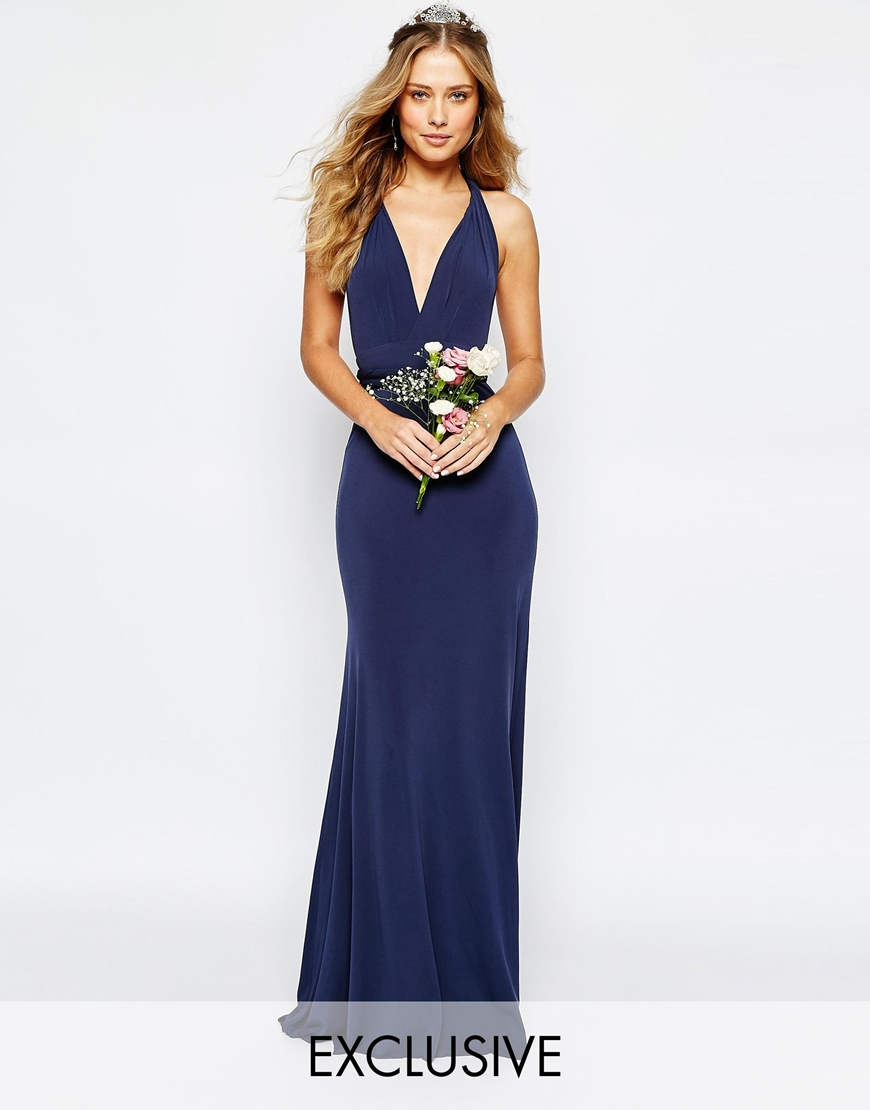 Tfnc london wedding multiway fishtail maxi dress navy in for Navy blue maxi dress for wedding