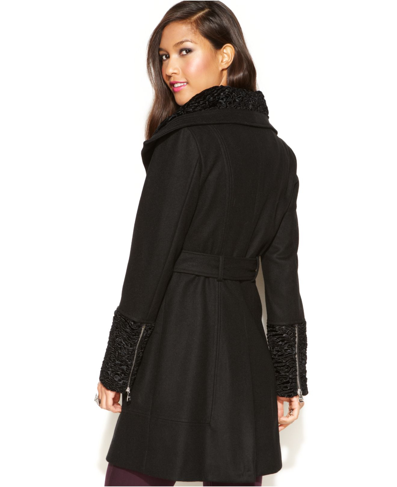 Lyst Guess Wool Blend Faux Fur Trim Belted Coat In Black