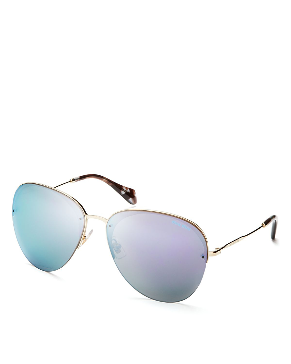 e941134753 Lyst - Miu Miu Mirrored Aviator Sunglasses