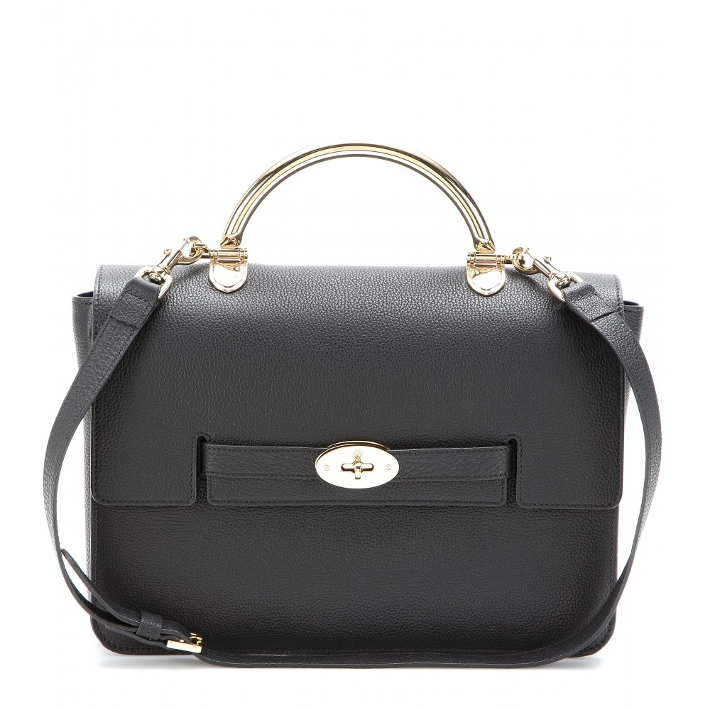 Mulberry the bayswater shoulder leather bag in black lyst for The bayswater