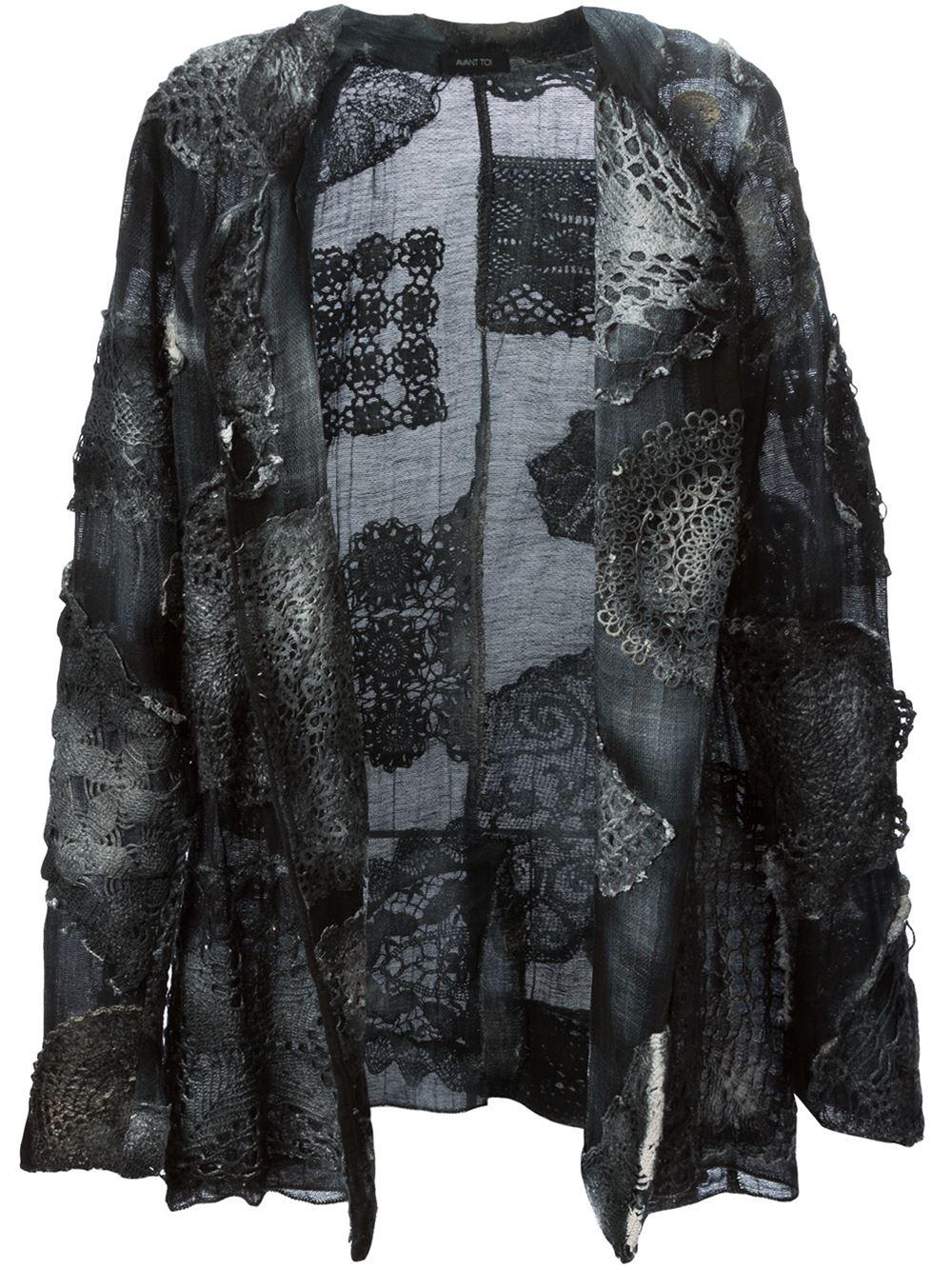 avant toi crochet appliqu distressed jacket in gray grey lyst. Black Bedroom Furniture Sets. Home Design Ideas