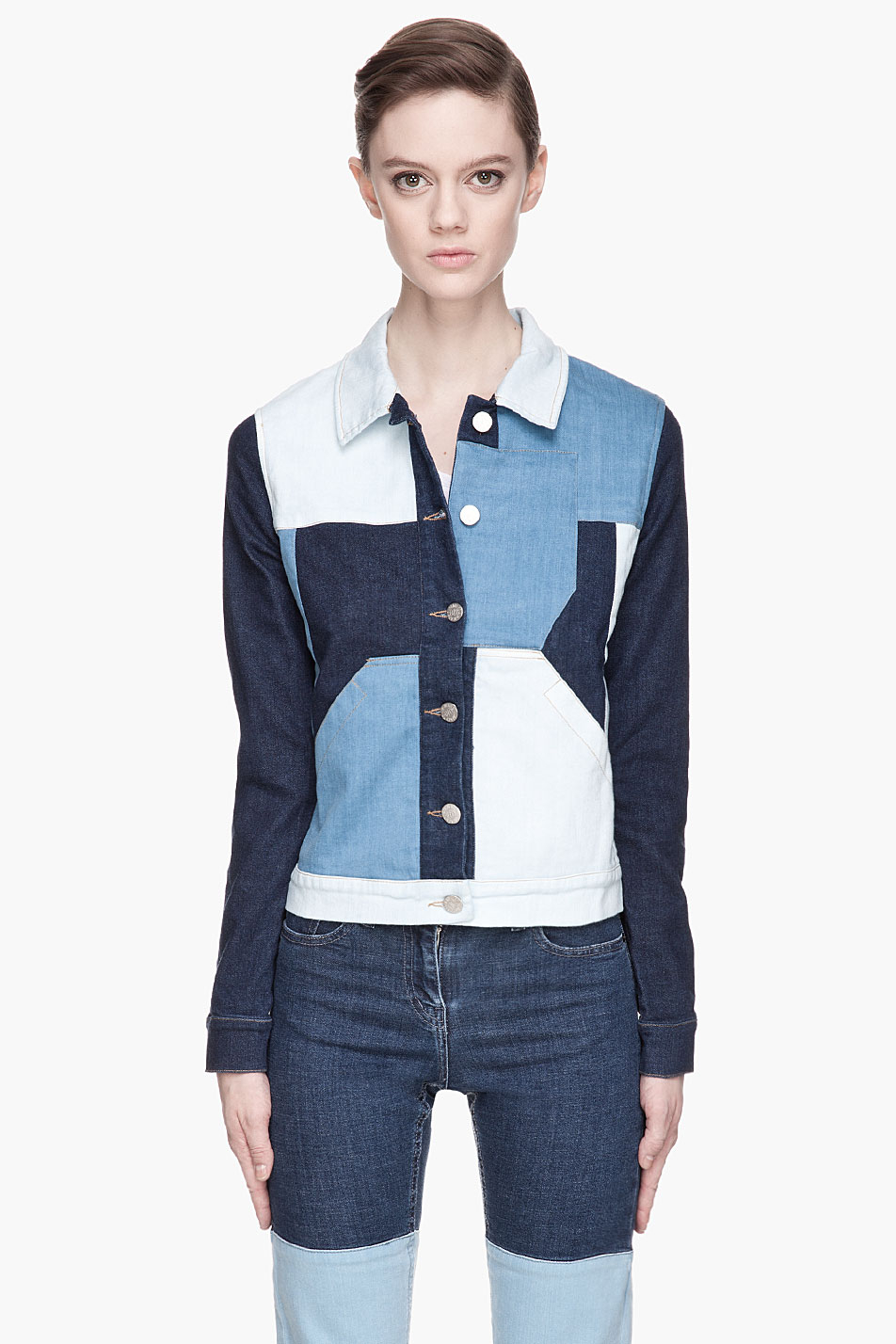 Lyst - Surface to air Blue Patchwork Cropped Denim Jacket ... - photo#48