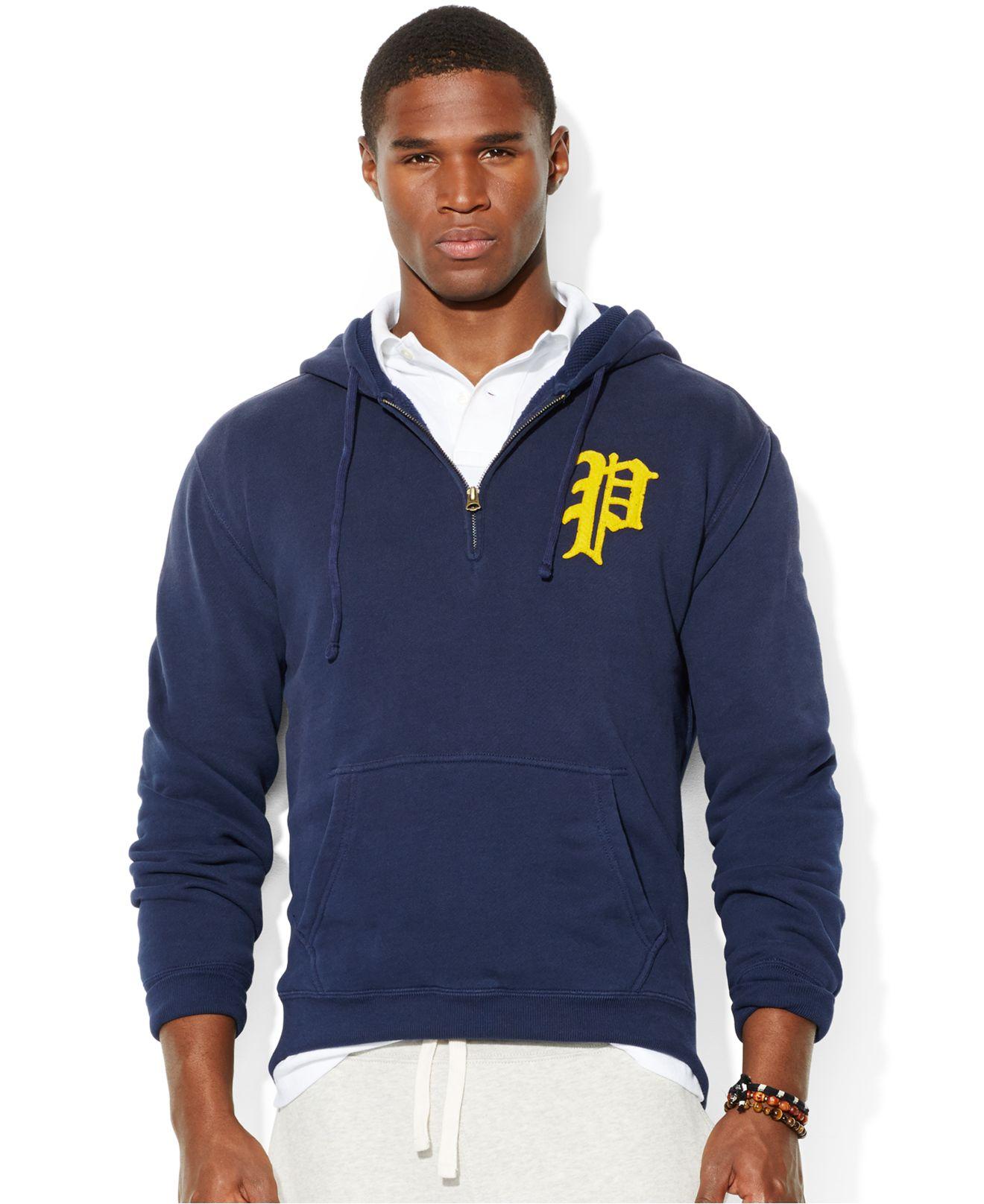 Polo ralph lauren Polo Halfzip Fleece Hoodie in Blue for Men | Lyst