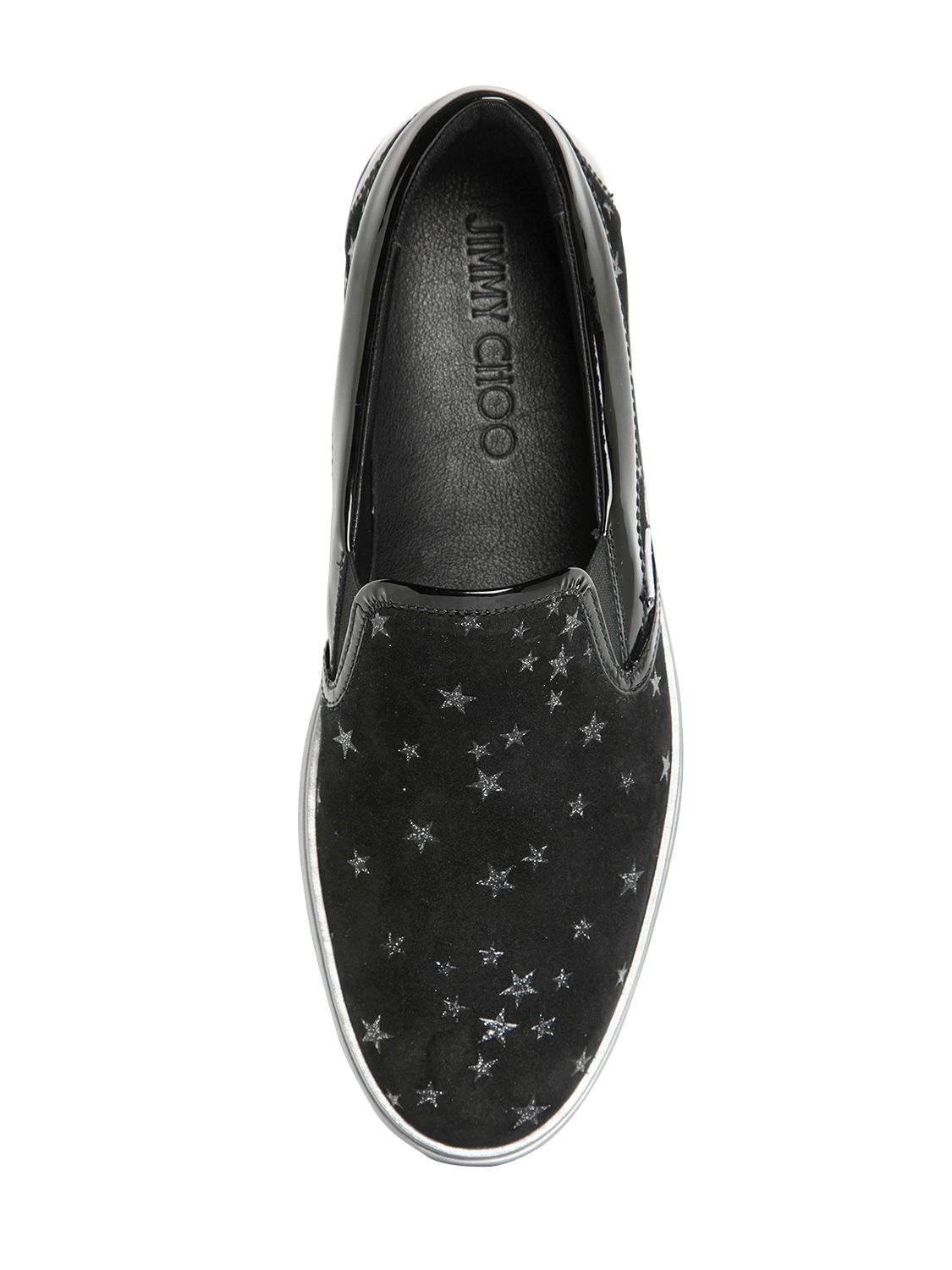 869e2b0d6884 ... buy lyst jimmy choo star printed suede slip on sneakers in black for men  abe83 170c5