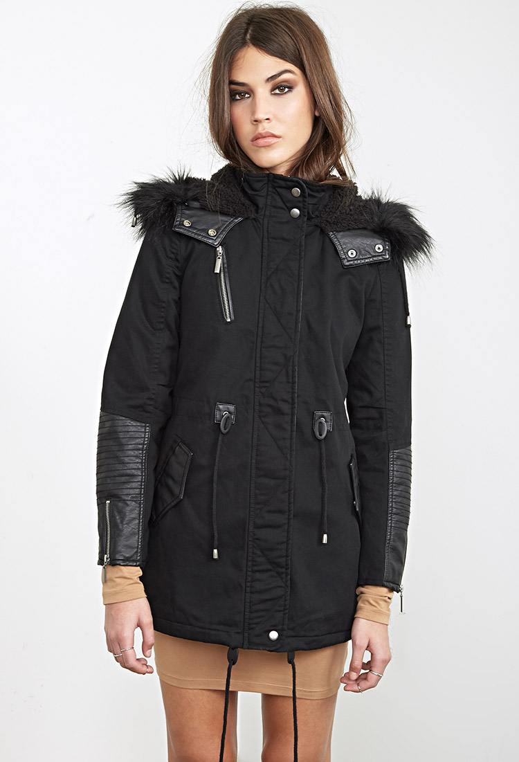 Forever 21 Faux Leather Trimmed Parka in Black | Lyst