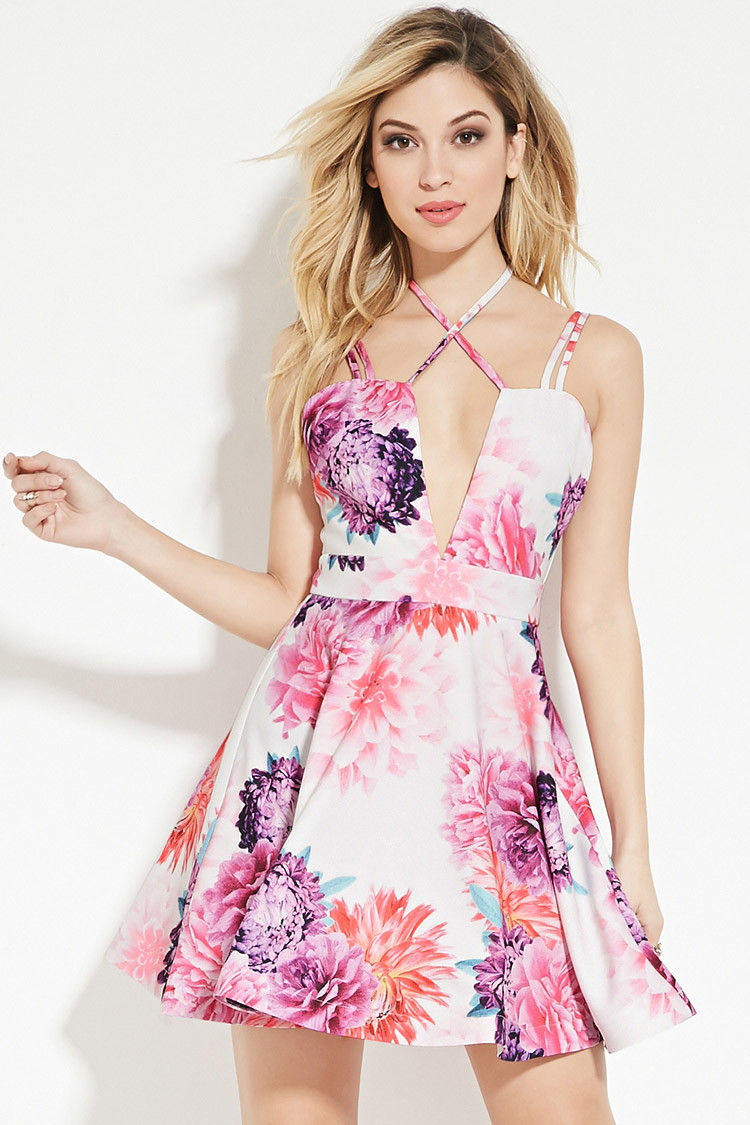 Lyst Forever 21 Tiger Mist Floral Fit And Flare Dress