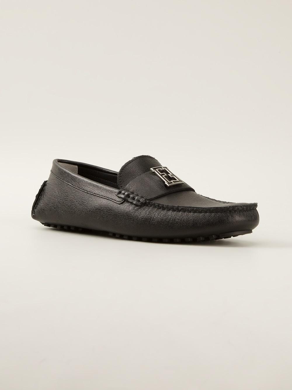 Lyst Fendi Logo Detail Loafer In Black For Men