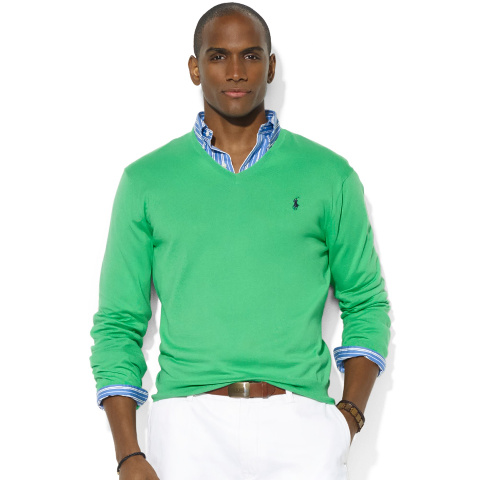Ralph lauren Polo Ralph Lauren V Neck Pima Cotton Sweater in Green ...