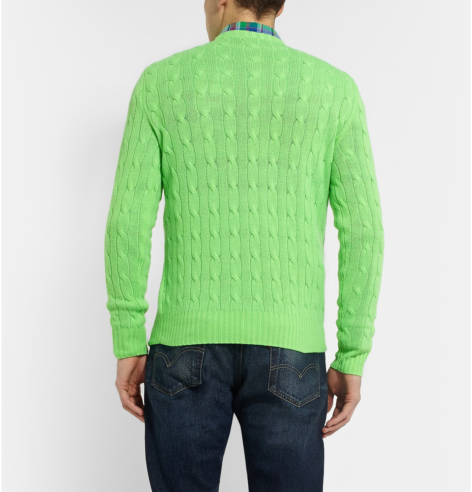 d172aa9c3531df Polo Ralph Lauren Cable-Knit Cashmere Sweater in Green for Men - Lyst