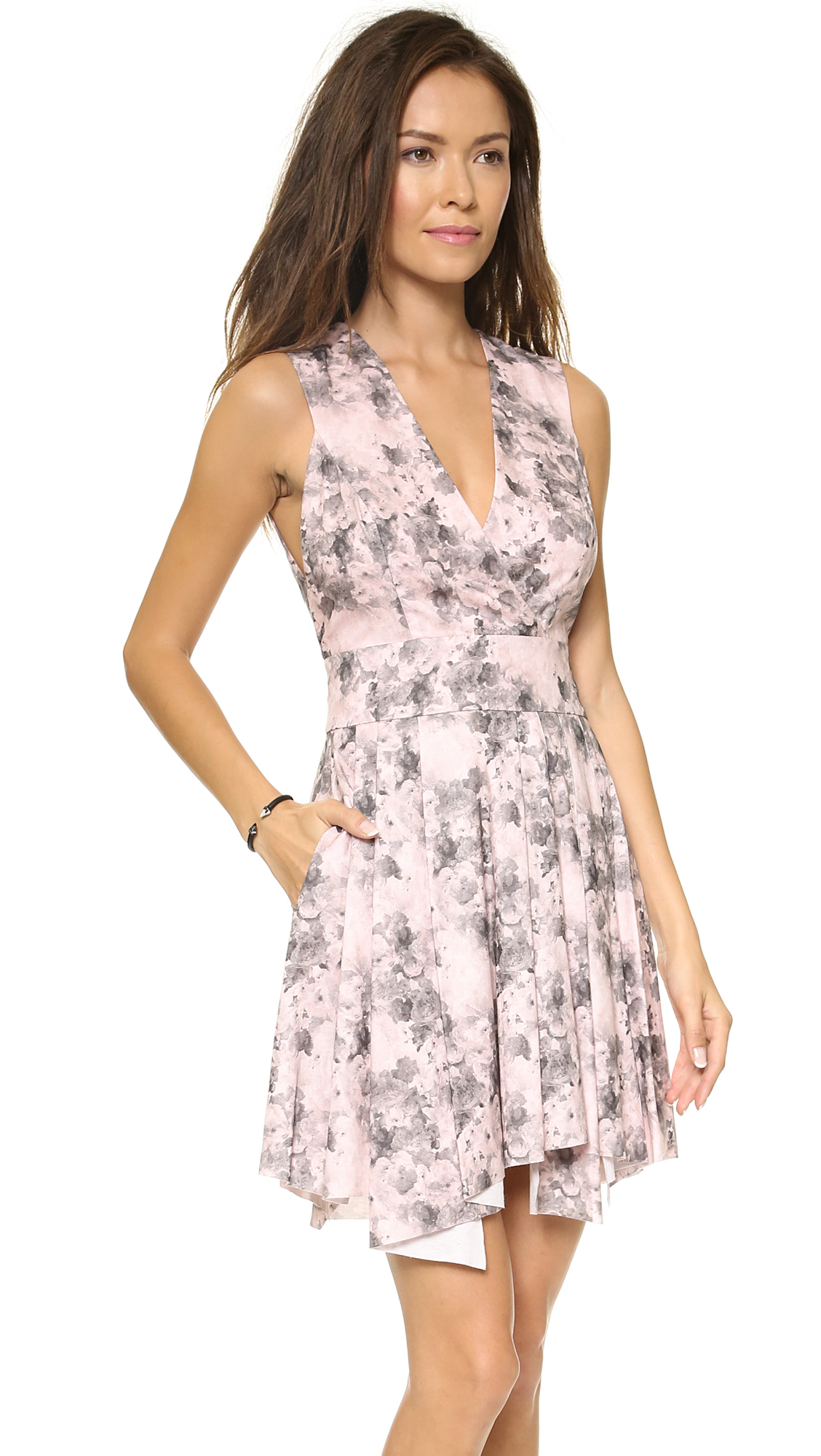 Robert rodriguez Floral Summer Dress Pink Floral in Pink | Lyst