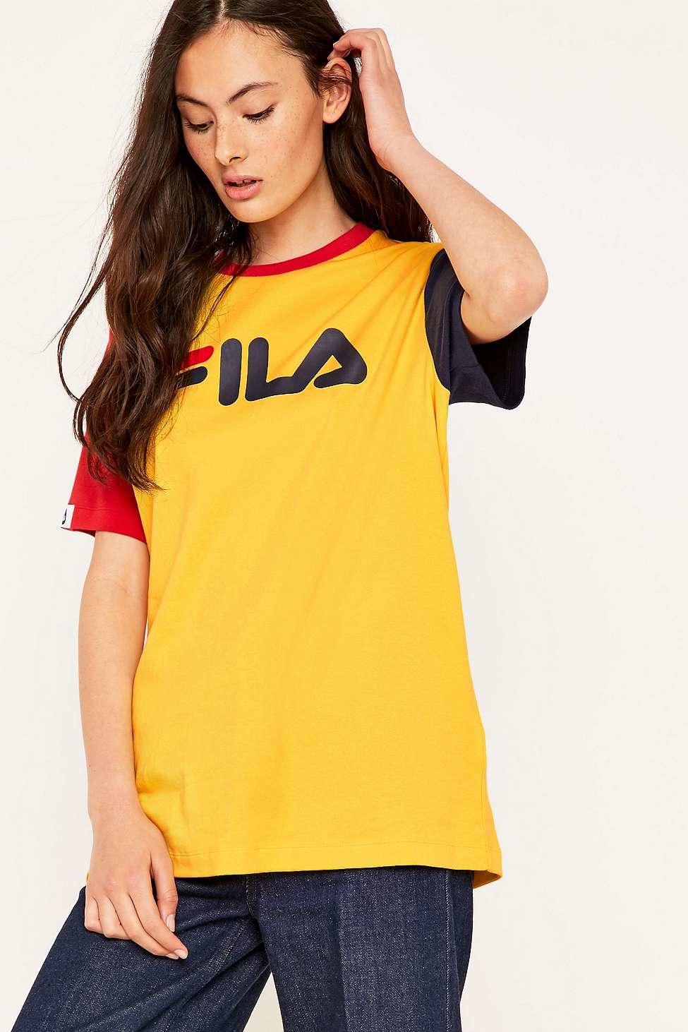 Fila Massa Boyfriend Yellow T-shirt in Blue - Lyst 39d4e3b6d94b