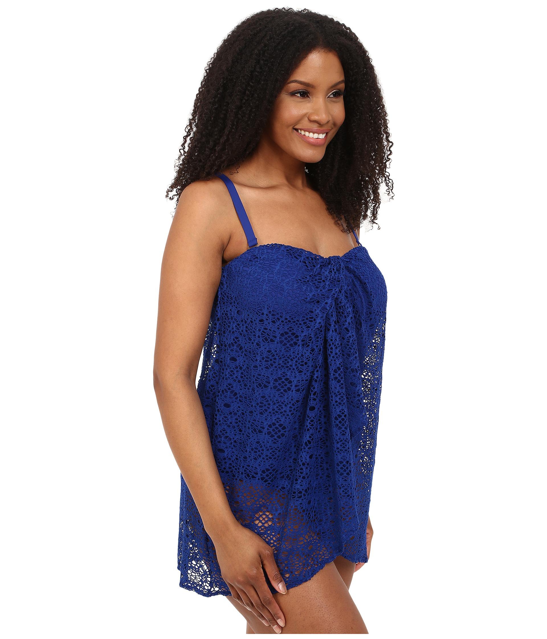 cd49c7d41888c Lauren by Ralph Lauren Plus Size Draped Crochet Flyaway Strapless ...