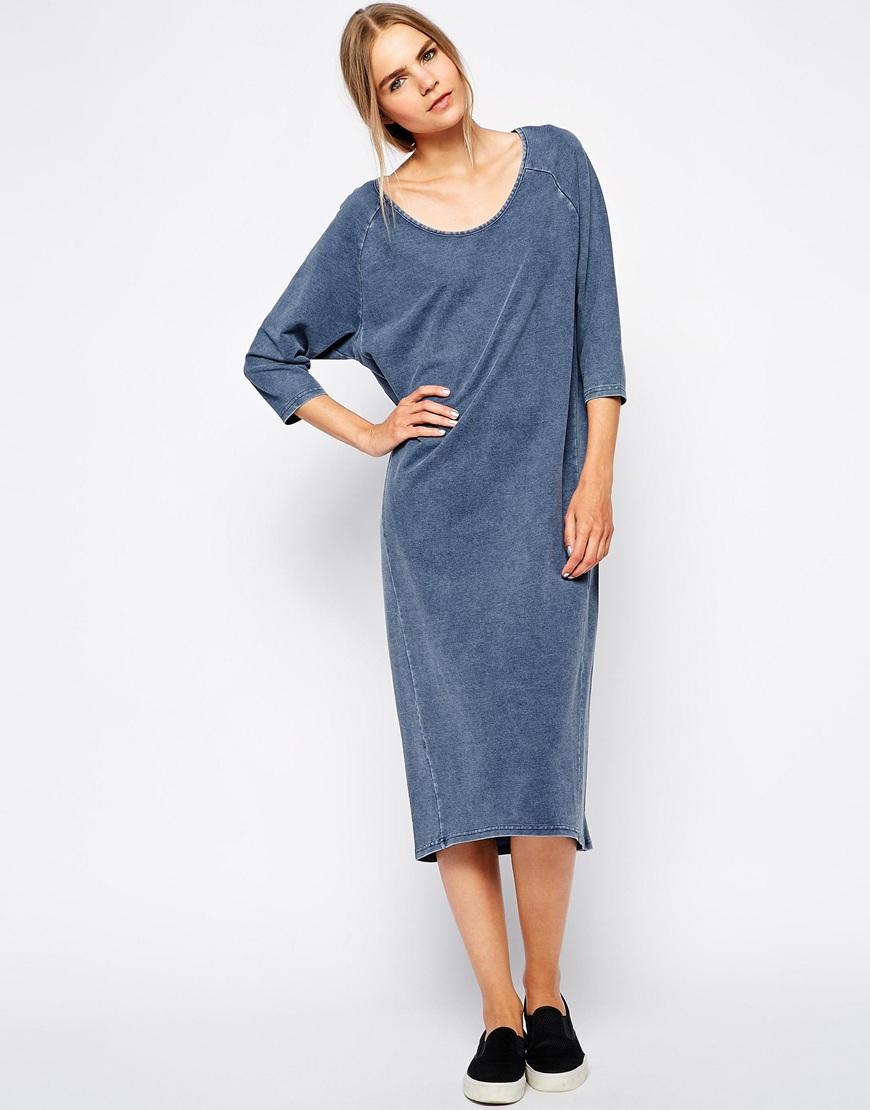 99c1292c623 Lyst - SELECTED Fara Midi Dress in Jersey Denim Wash in Blue