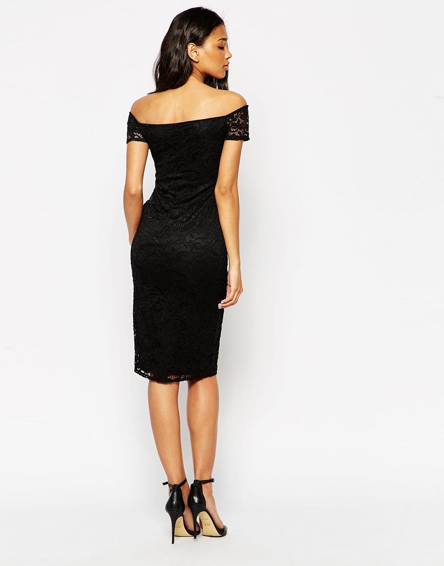 2dc0ea697f34 ASOS Lace Sweetheart Bardot Midi Bodycon Dress in Black - Lyst