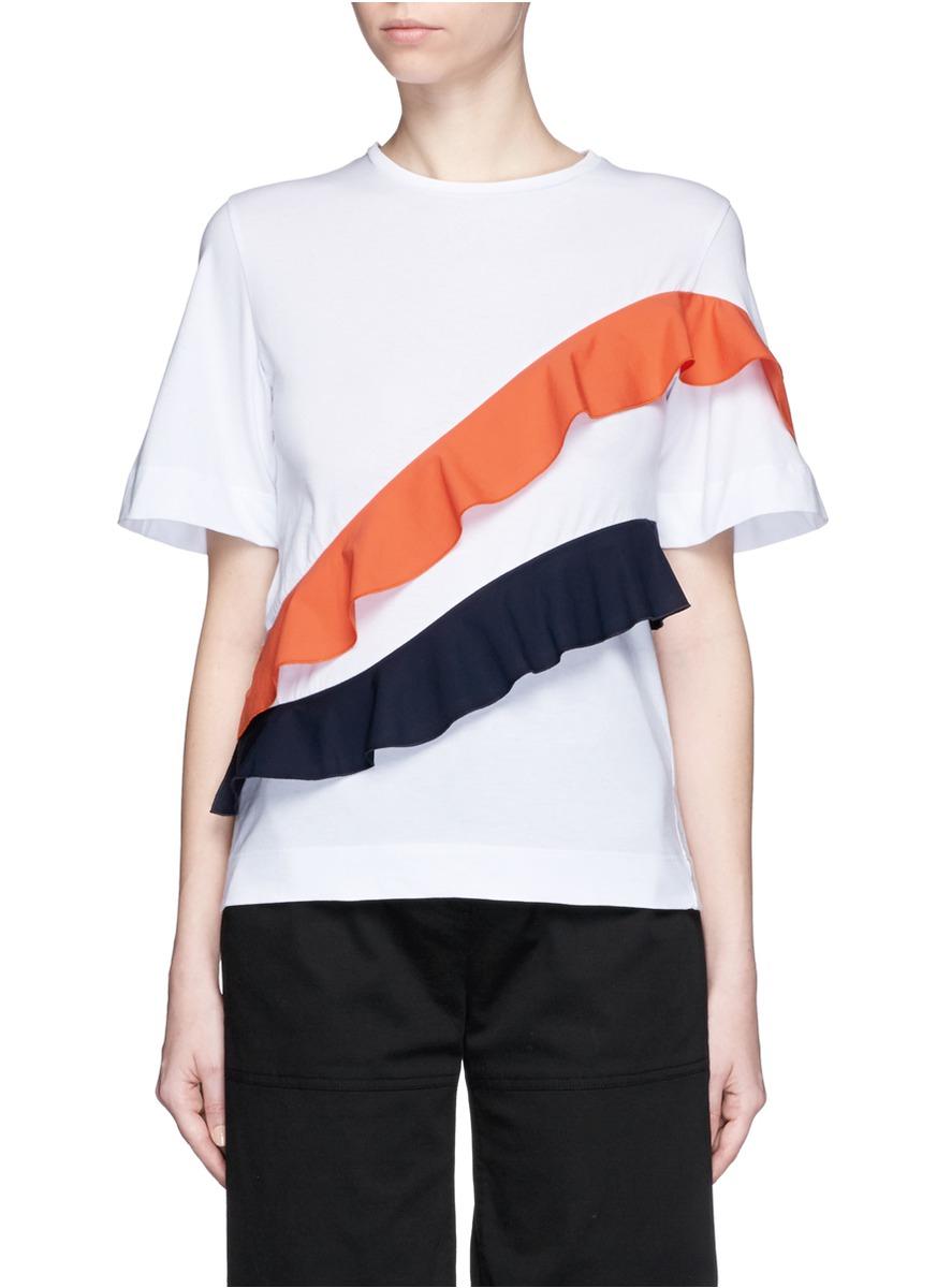 asymmetric ruffle sleeve T-shirt - White Msgm Shopping Online JAgT8gv7IT