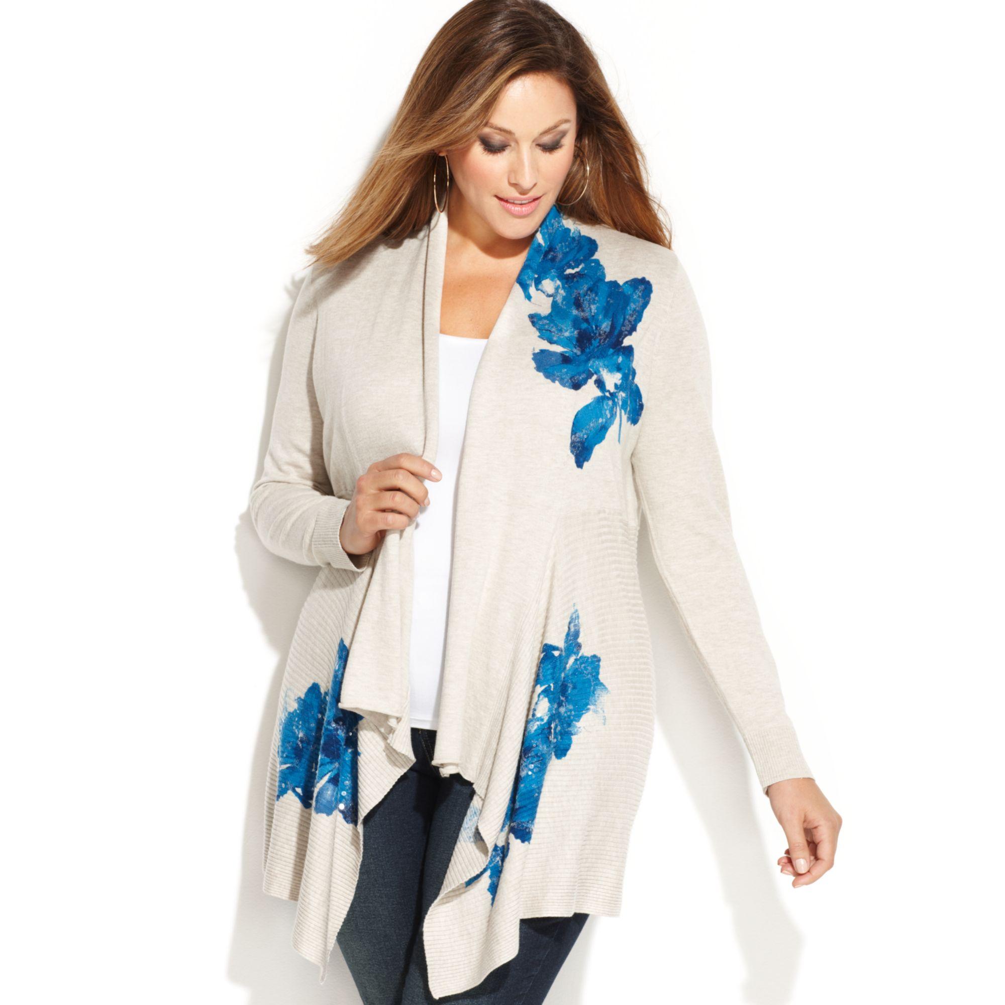 Inc international concepts Plus Size Draped Floralprint Sequined ...