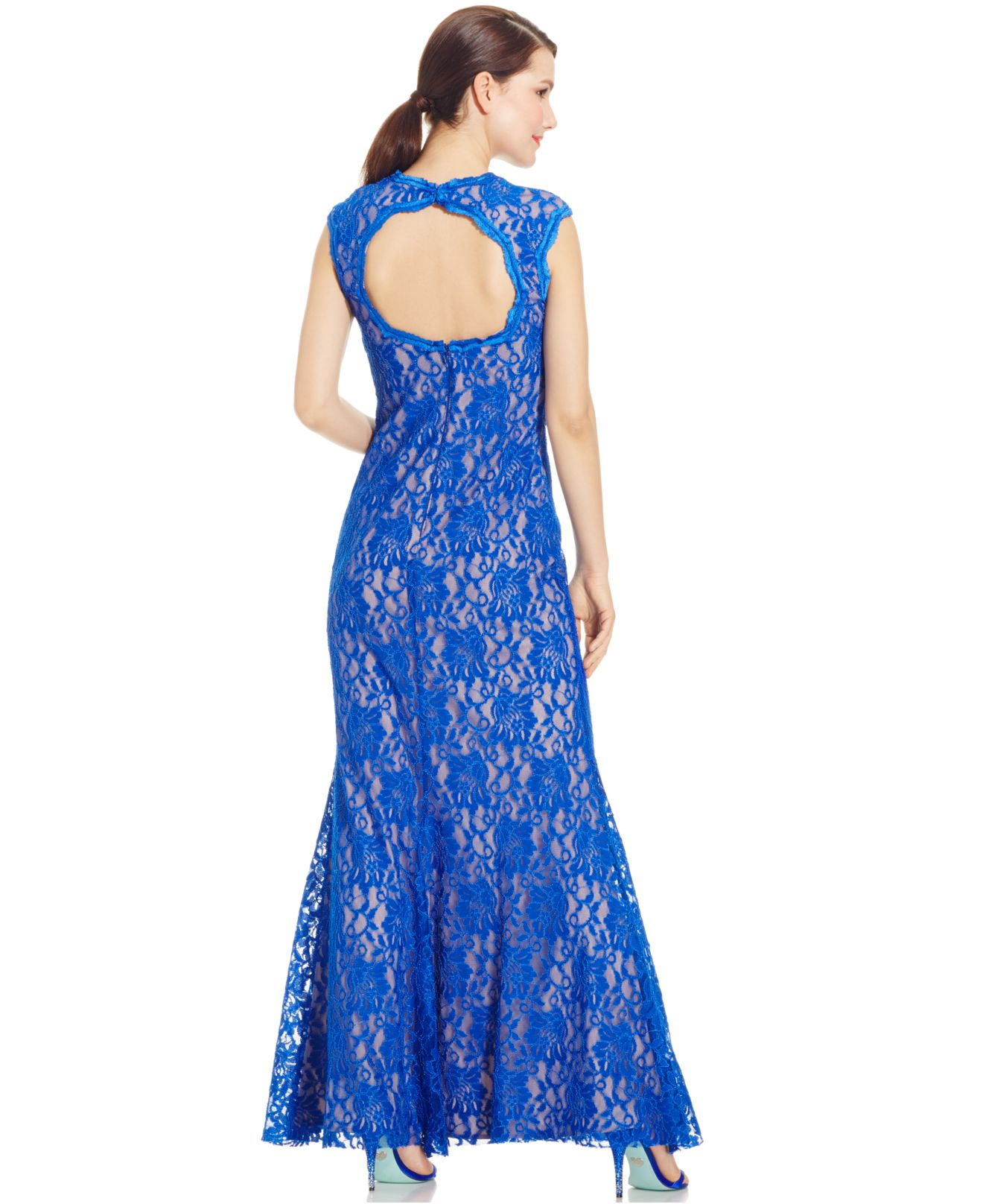 433eef05a5b Xscape Contrast-lace V-neck Gown in Blue - Lyst
