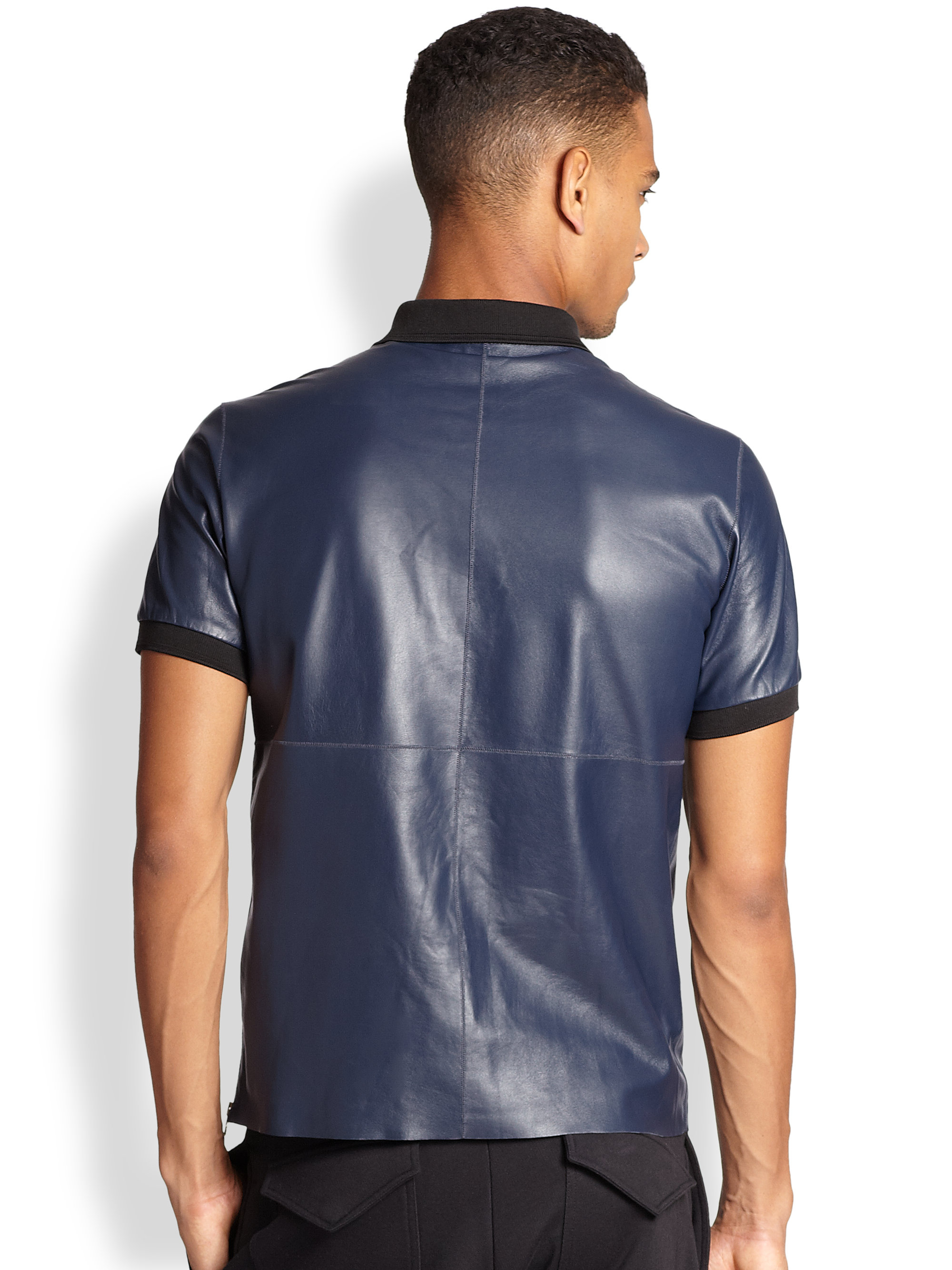Nike Performance Polo >> Lyst - McQ Leather Polo Shirt in Blue for Men