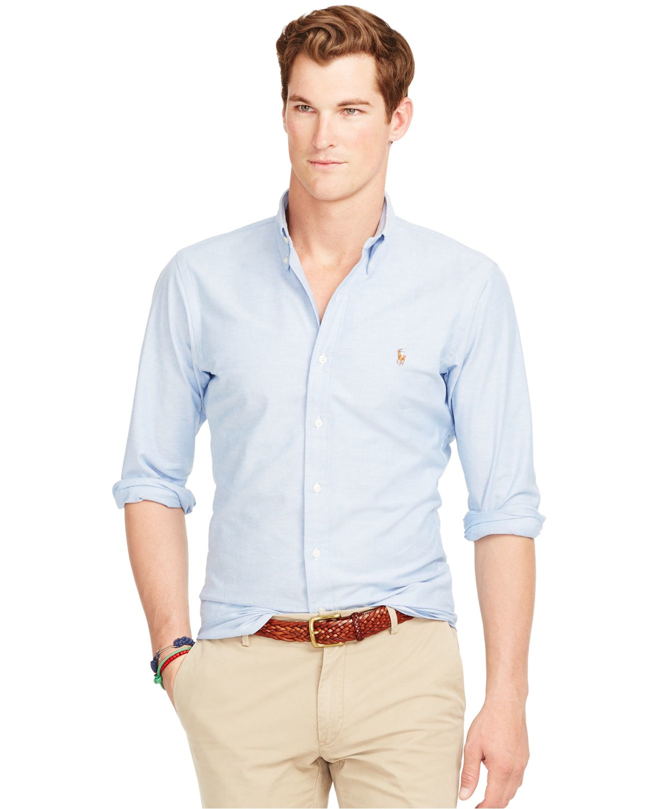 39d10a2c6 Polo Ralph Lauren Slim-fit Stretch-oxford Shirt in Blue for Men - Lyst