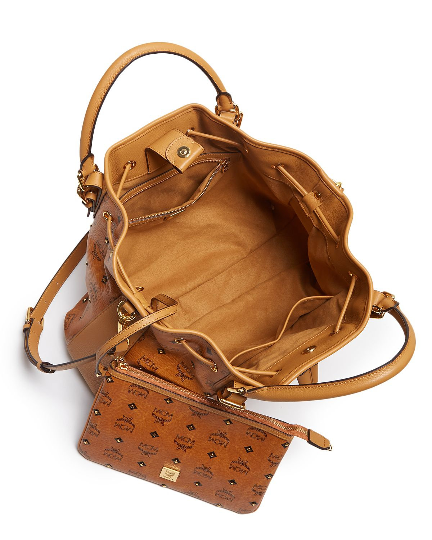 Mcm Shoulder Bag - Gold Visetos Drawstring in Brown   Lyst