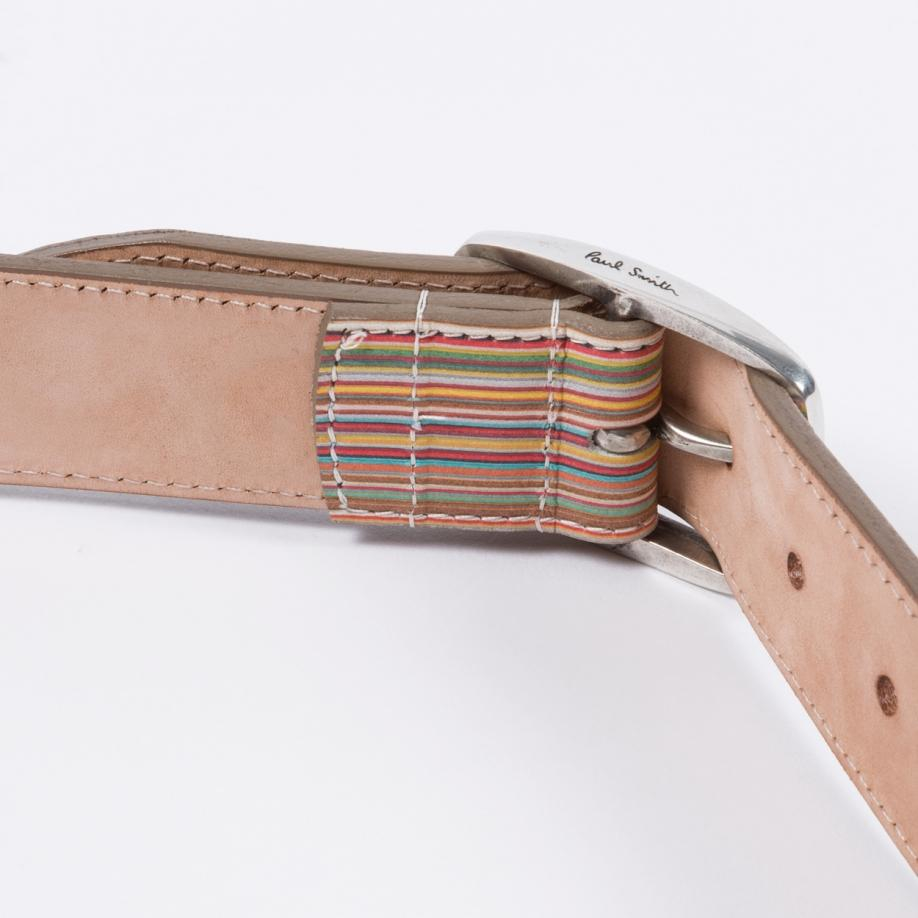paul smith s embossed signature stripe leather belt in