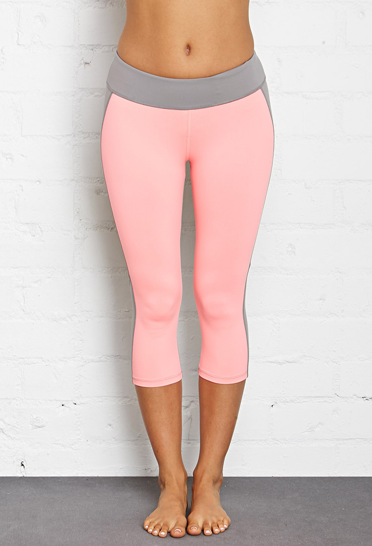 Forever 21 Colorblocked Workout Capris in Pink | Lyst