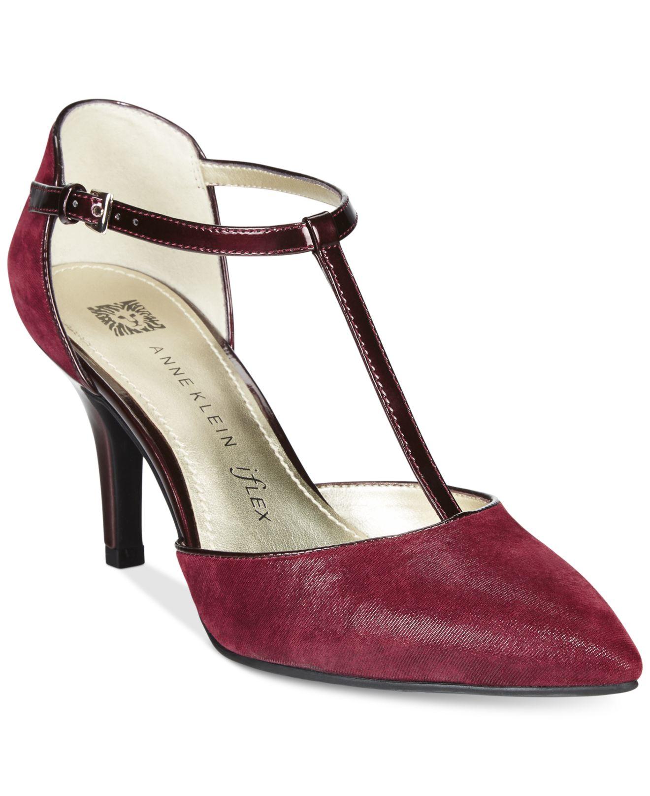 anne klein yatima pointed toe t strap dress pumps in purple lyst. Black Bedroom Furniture Sets. Home Design Ideas