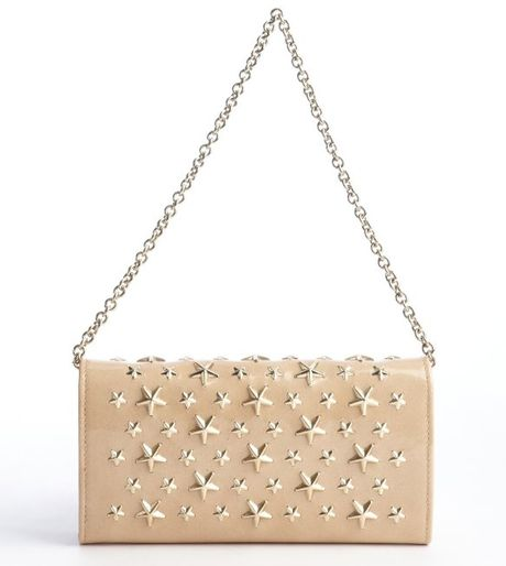 Jimmy Choo Nude and Gold Star Studded Chain Strap Bag in Beige (nude) - Lyst