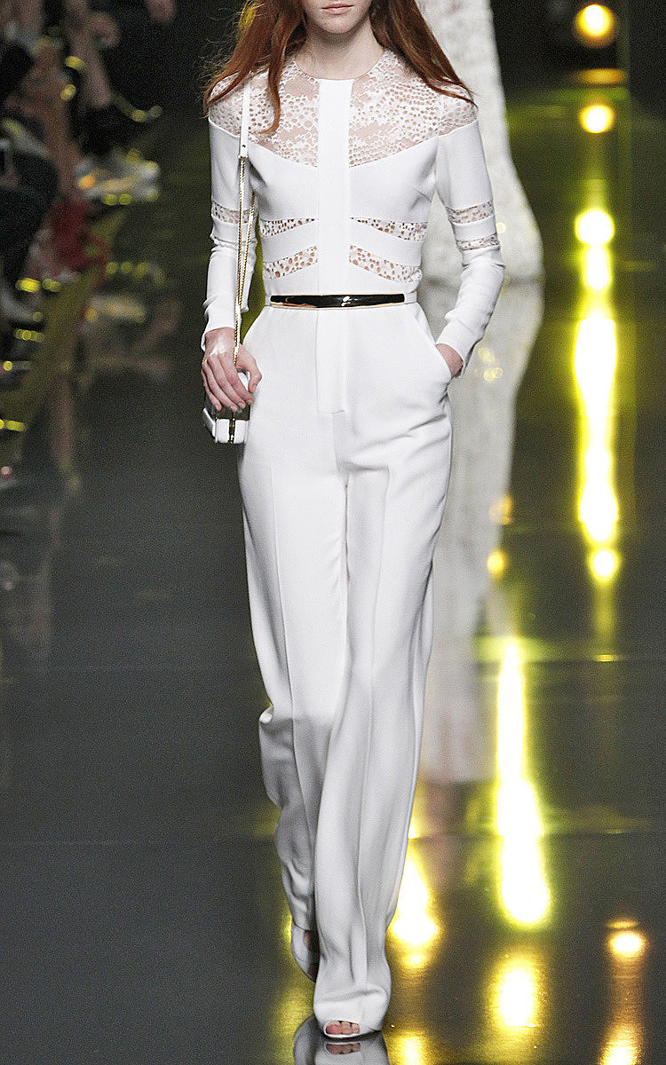 03fb5df7be47 Lyst - Elie Saab White Stretch Cady And Lace Jumpsuit in White