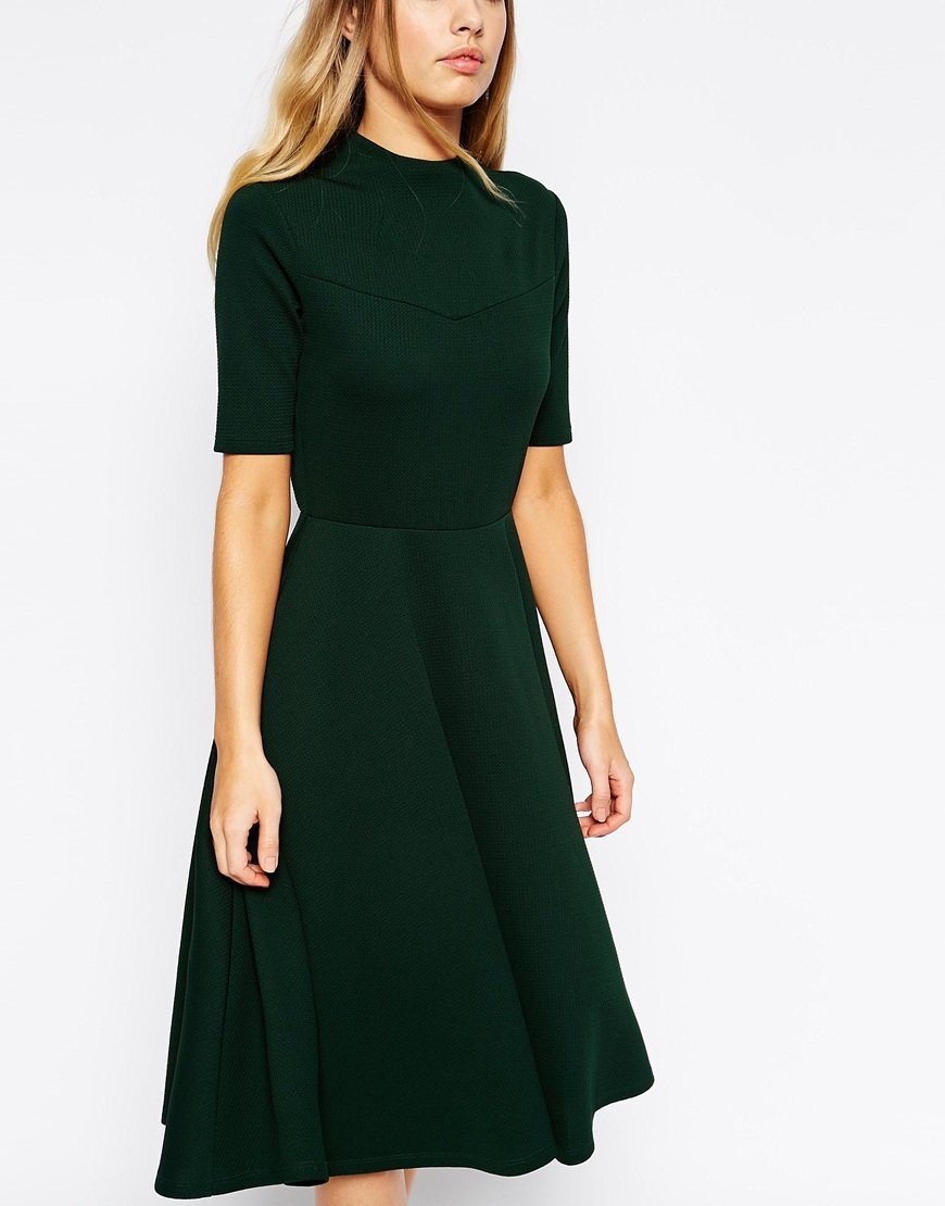 Asos High Neck Textured Midi Dress With Short Sleeves in Black | Lyst