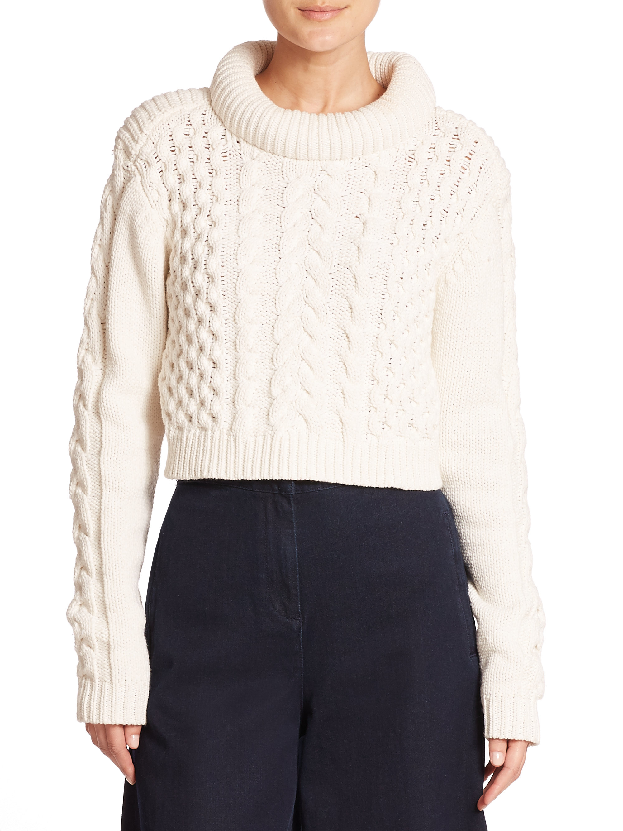 Tibi Chunky Cable Knit Cropped Sweater in White Lyst