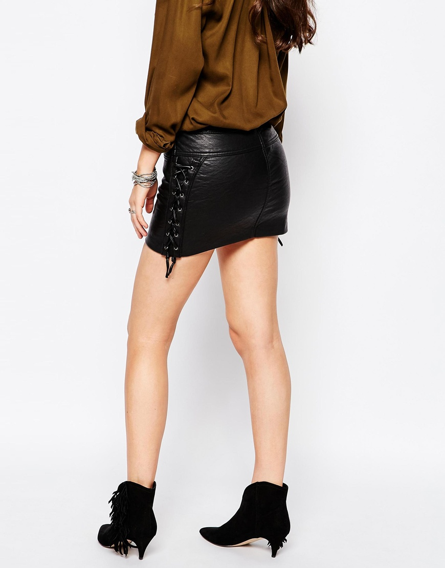 save up to 60% special buy outlet online Pull&Bear Black Leather Look Mini Skirt
