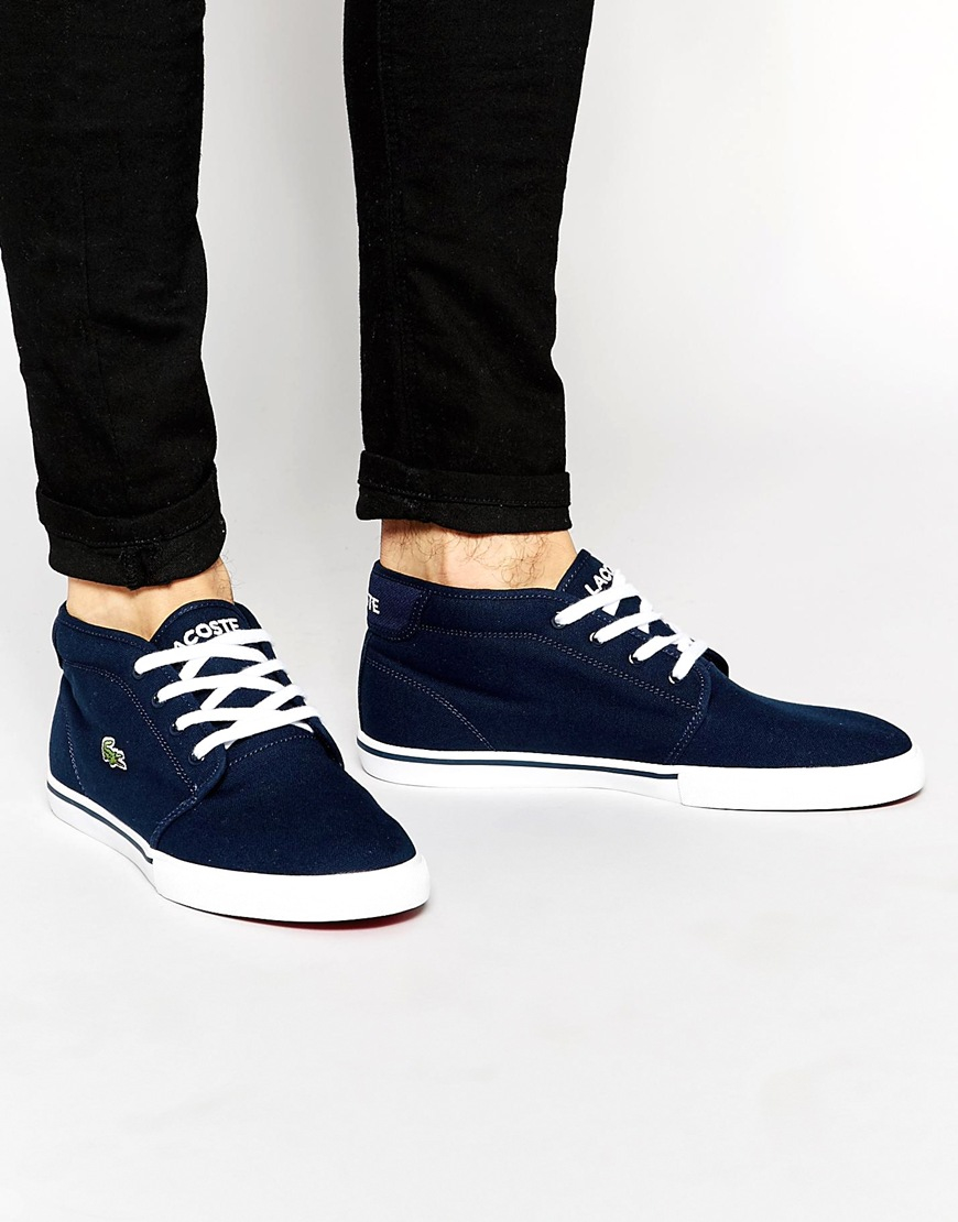 250c566d5 Lacoste Ampthill Mid Trainers in Blue for Men - Lyst