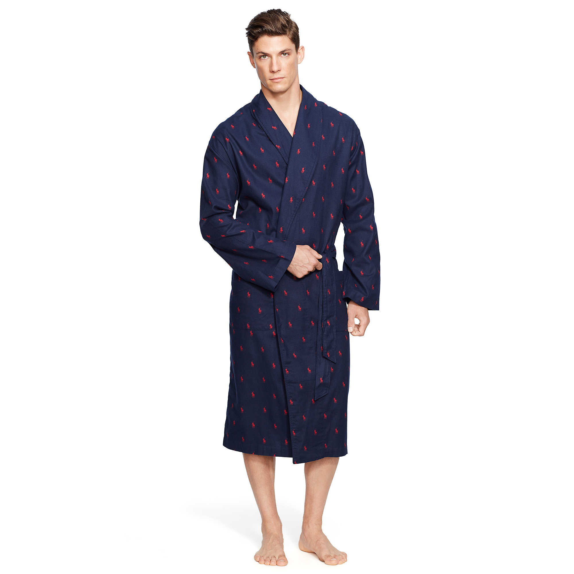 Lyst - Polo Ralph Lauren Allover Pony Flannel Robe in Blue for Men