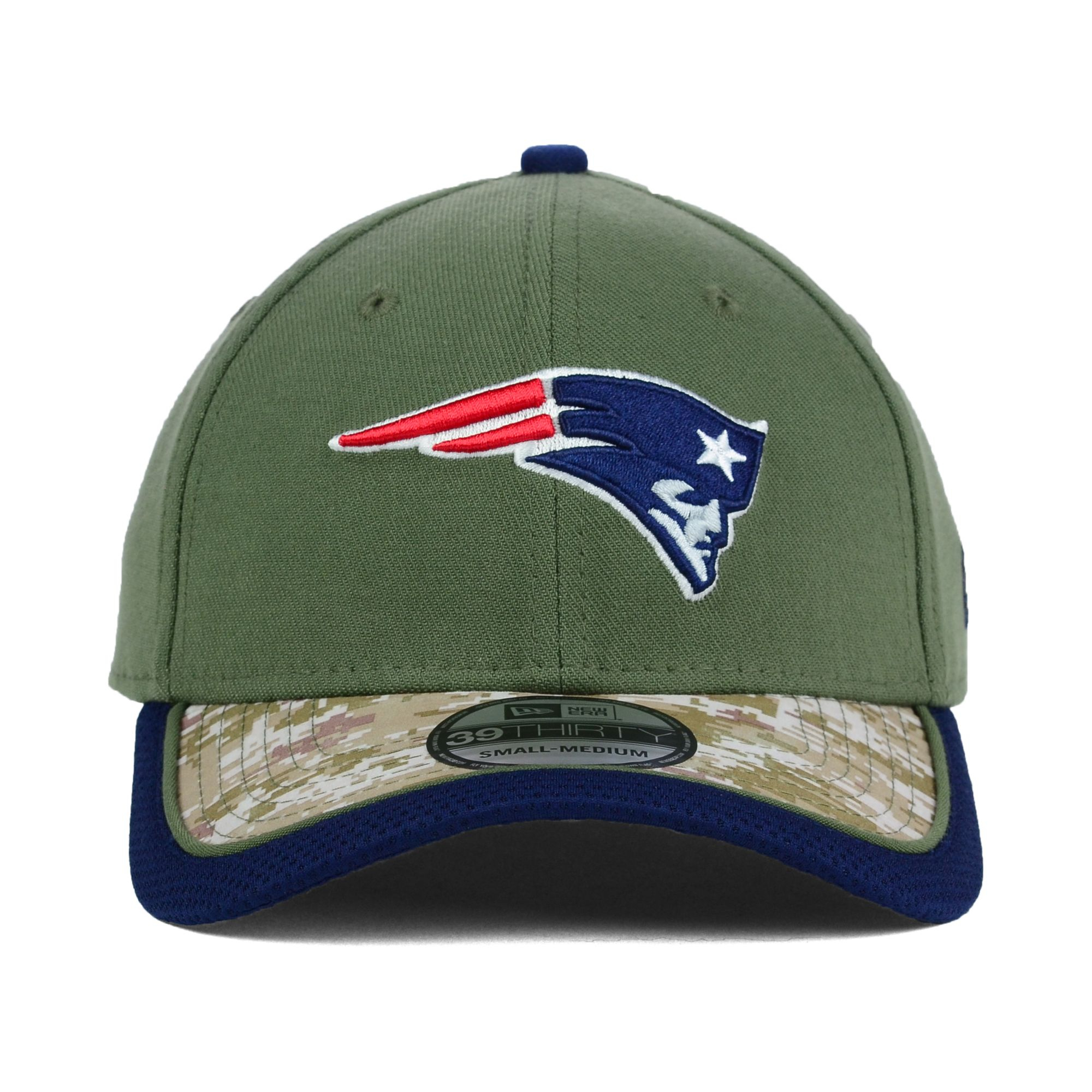 new era new england patriots salute to service 39thirty cap in green for men olive camo lyst. Black Bedroom Furniture Sets. Home Design Ideas