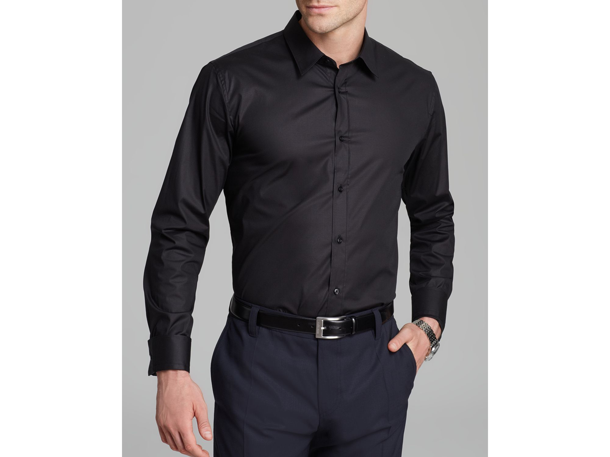 64b006004 HUGO Elisha Button Down Shirt - Slim Fit in Black for Men - Lyst