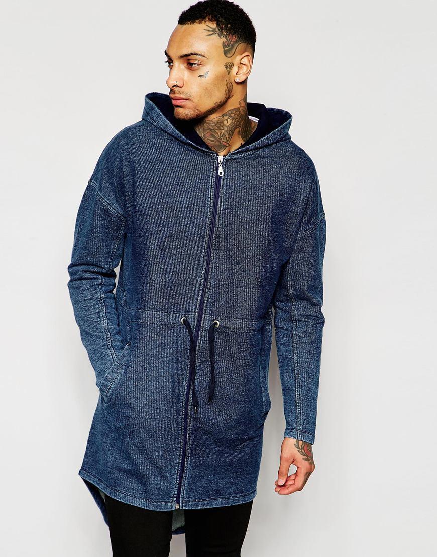 Asos Extreme Longline Oversized Jersey Parka Jacket In Denim Wash In Blue For Men | Lyst