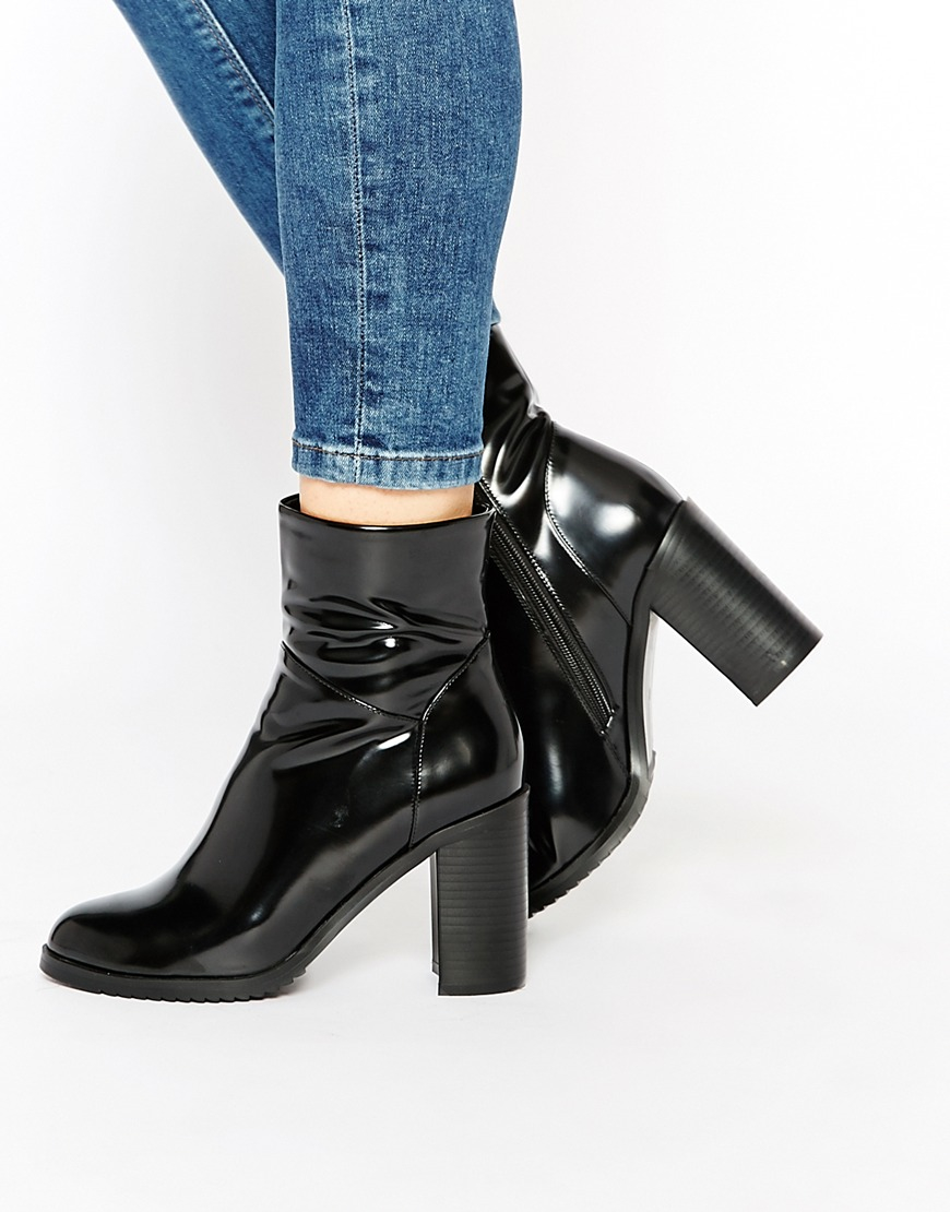 Buy Women Shoes / Lost Ink Black Round Toe Heeled Ankle Boots