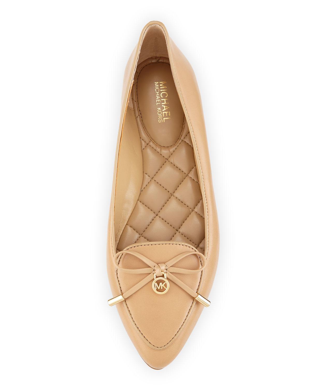 lyst michael michael kors nancy bow leather ballet flats in brown. Black Bedroom Furniture Sets. Home Design Ideas